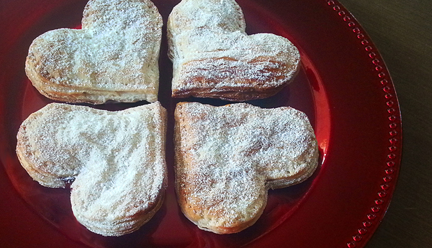 Heart-shaped strawberry hand pies