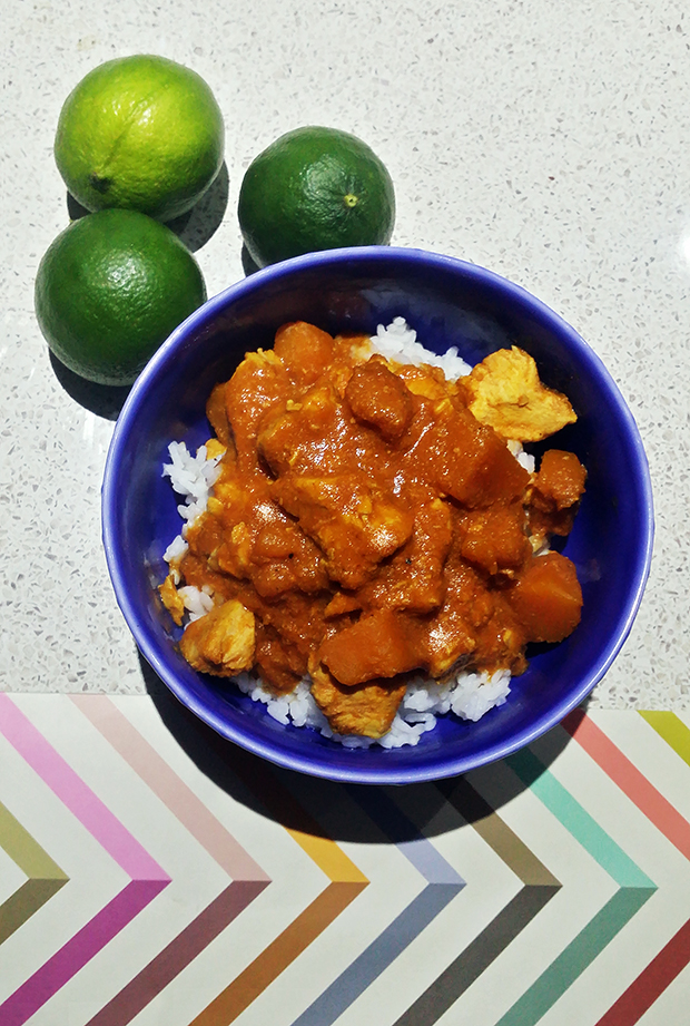 Slow cooked chicken and pumpkin curry